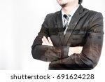 double exposure businessman...   Shutterstock . vector #691624228