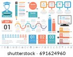education infographics design... | Shutterstock .eps vector #691624960
