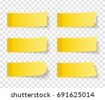 set of six different yellow... | Shutterstock .eps vector #691625014