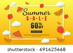 summer sale template banner... | Shutterstock .eps vector #691625668
