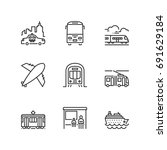 outline icons about public... | Shutterstock .eps vector #691629184