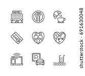 outline icons about  resort.  | Shutterstock .eps vector #691630048