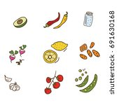 set of different vegetables in... | Shutterstock .eps vector #691630168