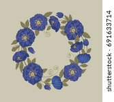 vector round floral frame with... | Shutterstock .eps vector #691633714