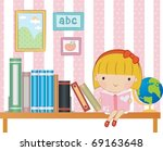 reading book together | Shutterstock .eps vector #69163648