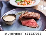 Closeup View Of Beef Steak Wit...