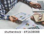 businessman working with... | Shutterstock . vector #691638088
