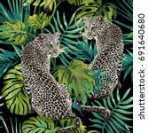 seamless pattern of leopard and ... | Shutterstock .eps vector #691640680