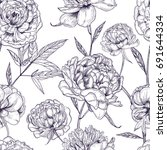 beautiful peonies seamless... | Shutterstock .eps vector #691644334