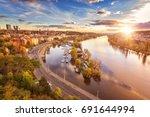 autumn in prague  golden sunset ... | Shutterstock . vector #691644994