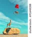 a giraffe standing on a large... | Shutterstock . vector #691648288