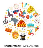 circus icon set in round shape... | Shutterstock .eps vector #691648708