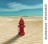 fire hydrant in the desert. ... | Shutterstock . vector #691651810