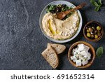 homemade traditional spread... | Shutterstock . vector #691652314