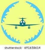 icon landing plane in the... | Shutterstock .eps vector #691658614