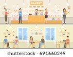 bakery cafe set. illustrations... | Shutterstock .eps vector #691660249