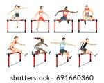 running with barrier set.... | Shutterstock .eps vector #691660360