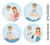 babay care set. doctor examines ... | Shutterstock .eps vector #691660366