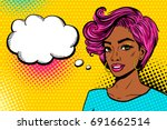 comic girl. sexy african... | Shutterstock .eps vector #691662514