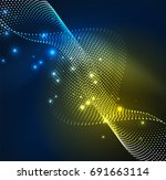 wave particles background   3d ... | Shutterstock . vector #691663114