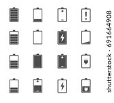 battery icons set vector | Shutterstock .eps vector #691664908