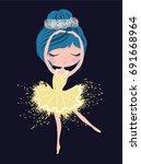 cute ballerina girl t shirt... | Shutterstock .eps vector #691668964