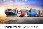 logistics import export... | Shutterstock . vector #691674544