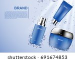 cosmetic ads template  blue... | Shutterstock .eps vector #691674853