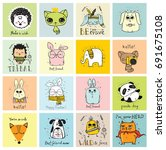 vector cards with cute animals... | Shutterstock .eps vector #691675108