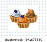delicious chocolate tartlet... | Shutterstock .eps vector #691675960
