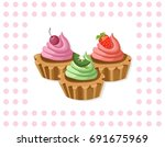 delicious chocolate tartlet... | Shutterstock .eps vector #691675969