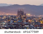 sagrada familia skyline at dusk ... | Shutterstock . vector #691677589