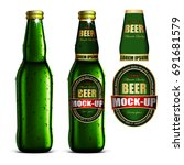 a transparent beer bottle with... | Shutterstock .eps vector #691681579