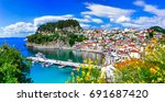 beautiful colorful towns of... | Shutterstock . vector #691687420