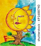 sleeping moon and sun as a tree ... | Shutterstock . vector #691688740