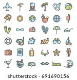 summer vacation outline colored ... | Shutterstock . vector #691690156
