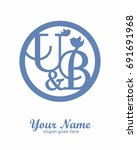 u b initial wedding decorative... | Shutterstock .eps vector #691691968