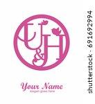 u h initial wedding decorative... | Shutterstock .eps vector #691692994