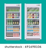 showcases refrigerators for... | Shutterstock .eps vector #691698106