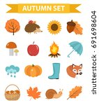 autumn icons set flat or... | Shutterstock .eps vector #691698604