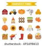 autumn harvest time icons set... | Shutterstock .eps vector #691698613