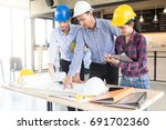 engineering team are planning... | Shutterstock . vector #691702360