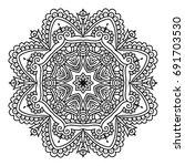 outline mandala for coloring...   Shutterstock .eps vector #691703530