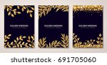 banners set with gold floral... | Shutterstock .eps vector #691705060