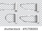 set of vector holes torn in... | Shutterstock .eps vector #691708303