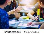 salesperson present business...   Shutterstock . vector #691708318
