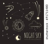 night sky background with cute... | Shutterstock .eps vector #691711480