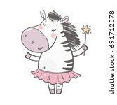 cute little zebra princess | Shutterstock .eps vector #691712578