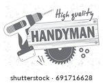 professional handyman services... | Shutterstock .eps vector #691716628