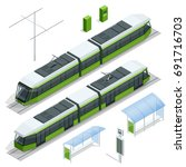 set of isometric passenger tram ... | Shutterstock .eps vector #691716703